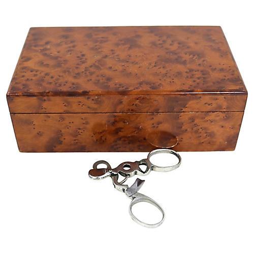 English Burl Cigar Box w/ Cutter, 2 Pcs