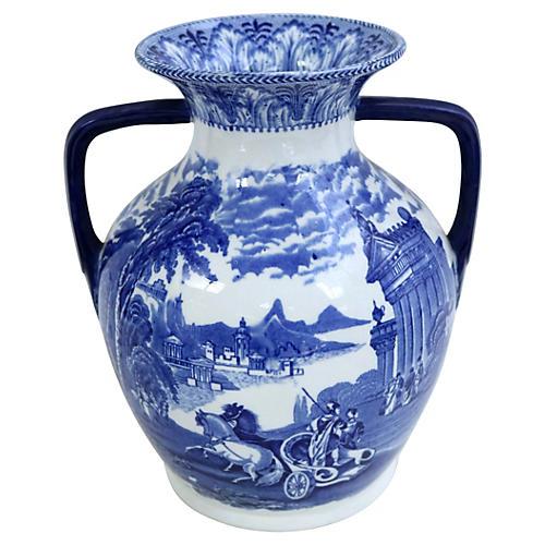 Antique Flow Blue Cauldon Chariot Urn