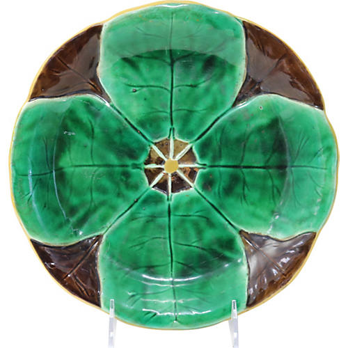 Antique Majolica Lily Pad Plate