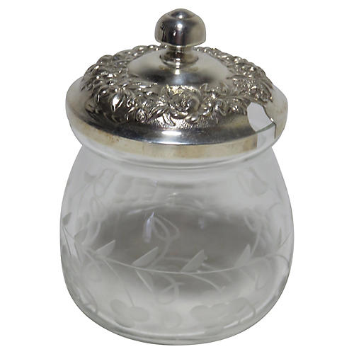 Sterling & Hand-Etched Glass Jam Pot