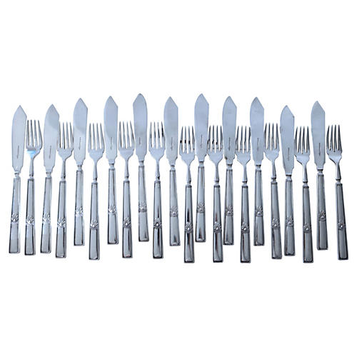 Walker & Hall Art Deco Fish Set, 22-Pcs
