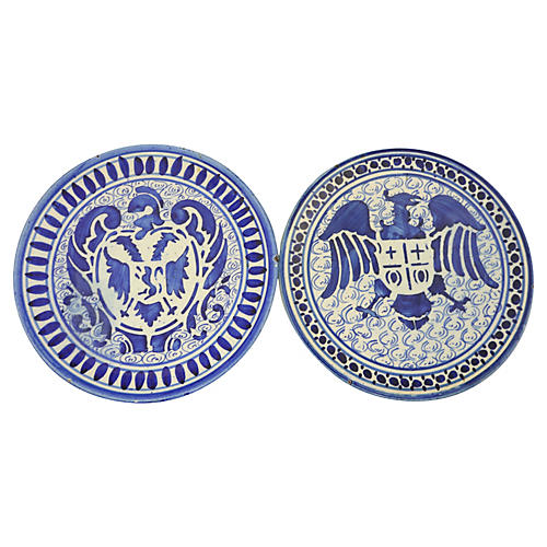 French Coat of Arms Wall Plates, Pair