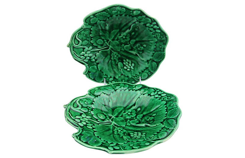 Majolica Strawberry & Grape Dishes, Pair