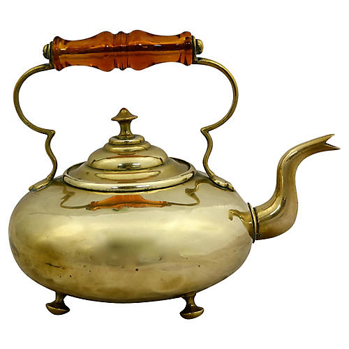 Brass Teakettle w/ Amber Glass Handle