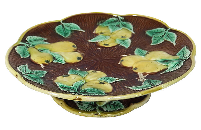 Antique English Pear Majolica Cake Stand