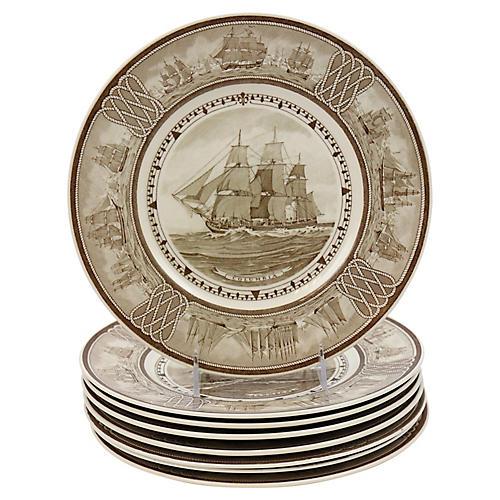 Wedgwood Ship Dinner Plates, S/8