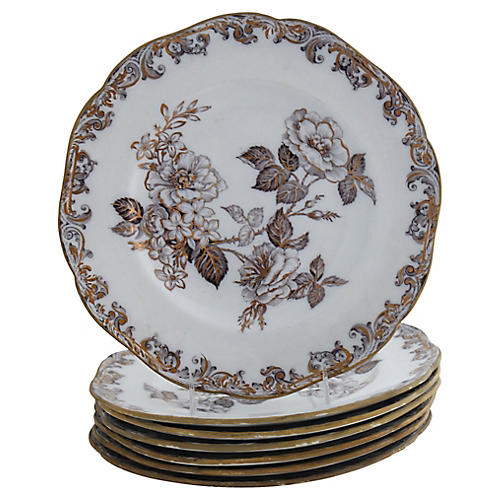 Antique Wedgwood Mulberry Plates, S/7