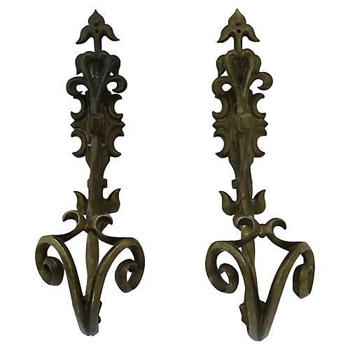 Antique French Bronze Wall Hooks, S/2