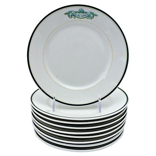 French Limoges Hotel Ware Plates, S/9