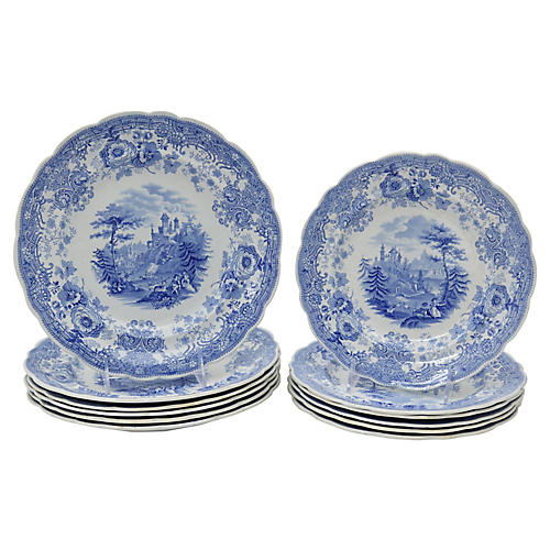1840s English Plates, 12 Pcs