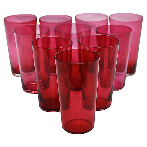 Antique Cranberry Juice Glasses, S/10