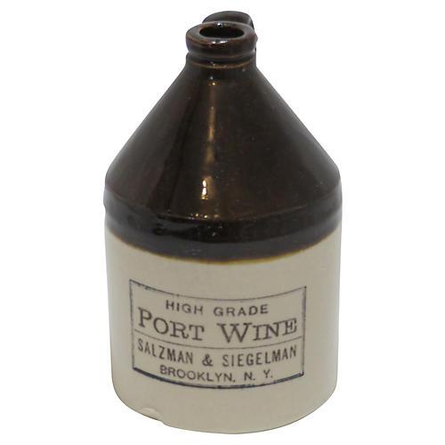 Antique Stoneware Port Wine Jug