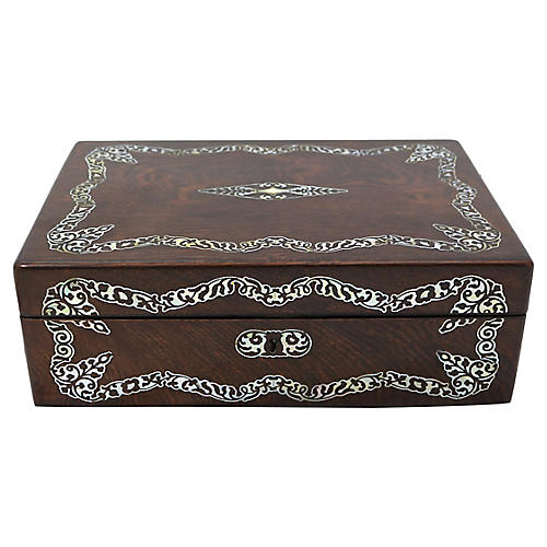 Antique English Pearl Inlay Writing Box