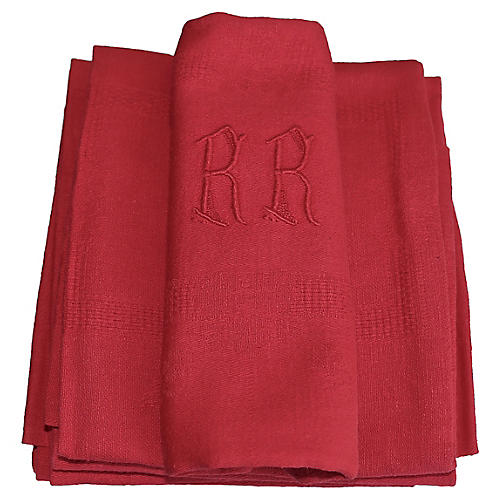 Antique French Organic Dyed Napkins,S/11