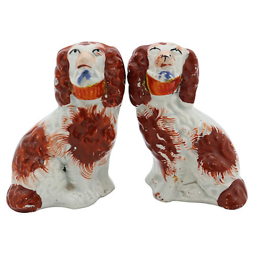 Antique Mini Staffordshire Basket Dogs