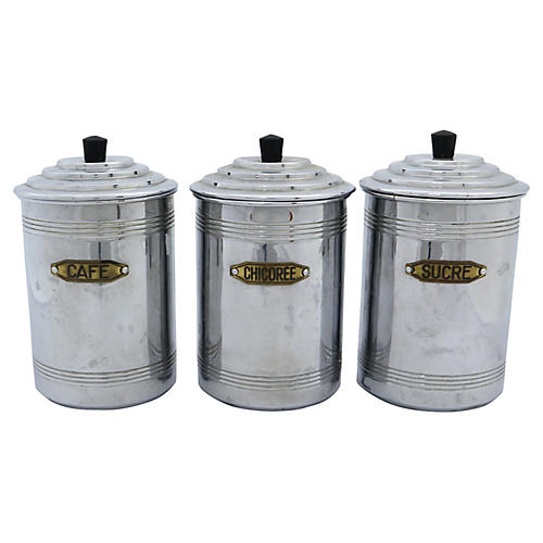 French Chrome Kitchen Canisters, S/3