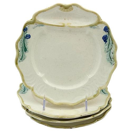 Antique Majolica Asparagus Plates, S/4
