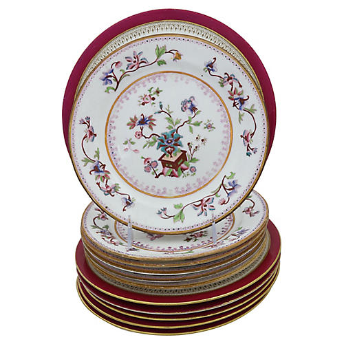 Antique English Dinner Plates, 12 Pcs