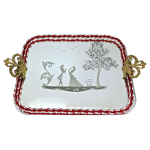 Italian Murano Glass Mirrored Tray