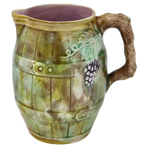Antique English Majolica Grapevine Jug