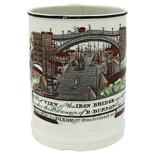 Antique English Creamware Mug w/ Frog