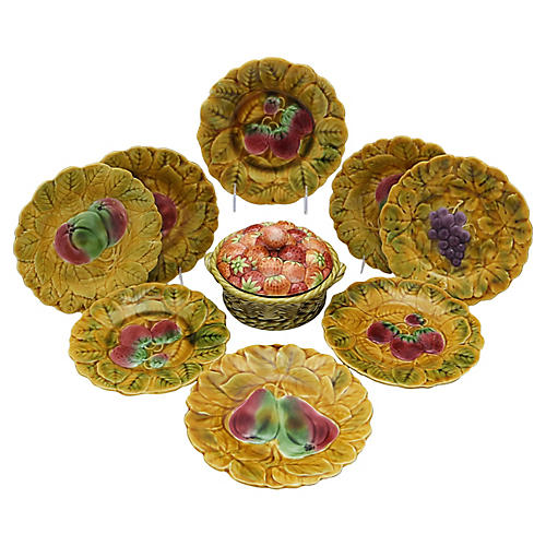 French Majolica Berry Serving Set, 9 Pcs