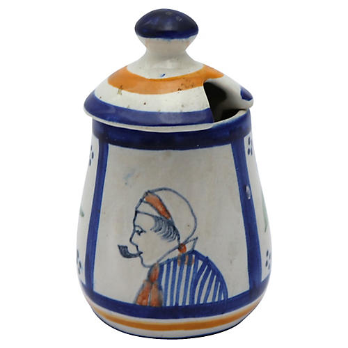 French Faience Mustard Pot w/ Spoon