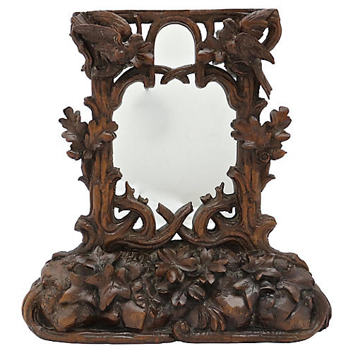 Antique Black Forest Tabletop Mirror