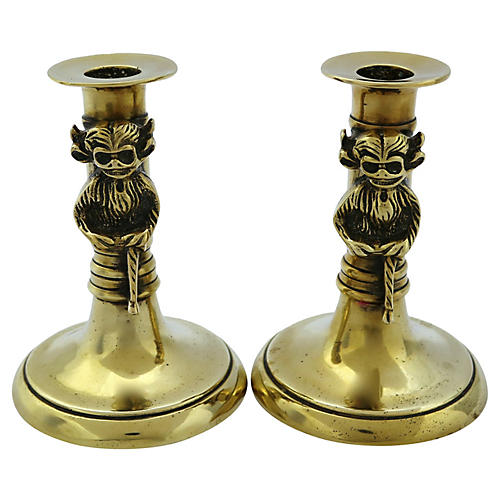 Lincoln Imp Gargoyle Brass Candlesticks