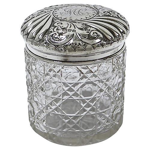 Antique Sterling Top Vanity Jar, 1902