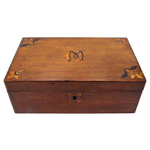 Antique English Inlaid Storage Box
