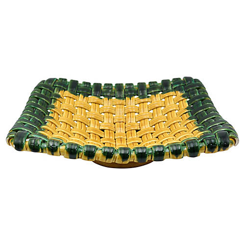 French Majolica Basket Fruit Bowl