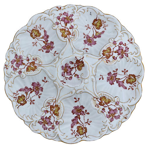 Hand-Painted French Oyster Serving Plate