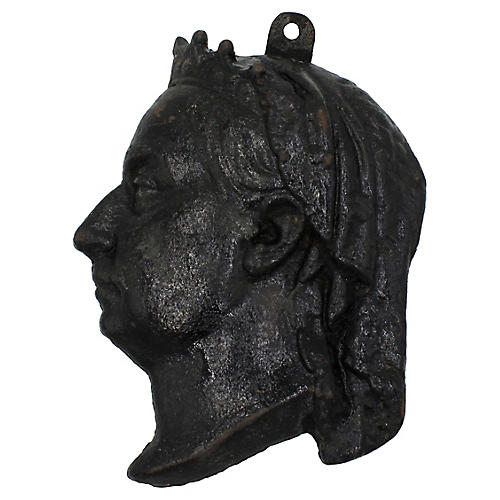 Antique Queen Victoria Cast Iron Profile