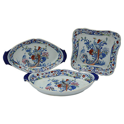 Antique Mason's Ironstone Set, 3 Pcs