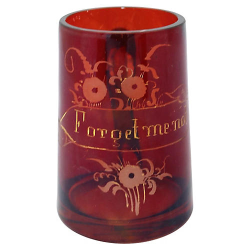 English Ruby Red Glass Mug