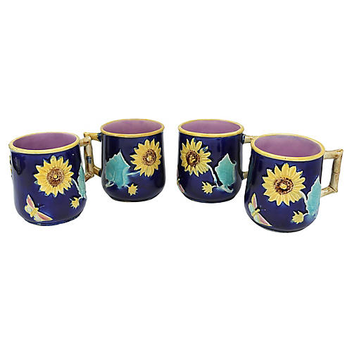 Antique Majolica Sunflower Mugs, S/4