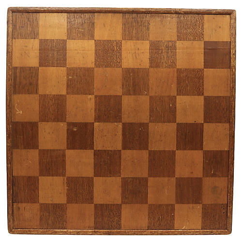 Antique Wood 2-Sided Checker/Chess Board