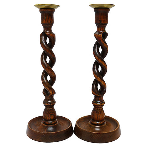 English Oak Twist Candlesticks, Pair