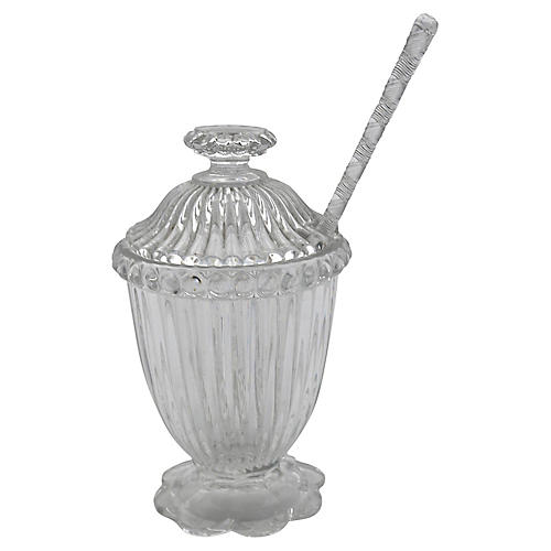 Mid-Century Glass Preserves Pot w/ Spoon