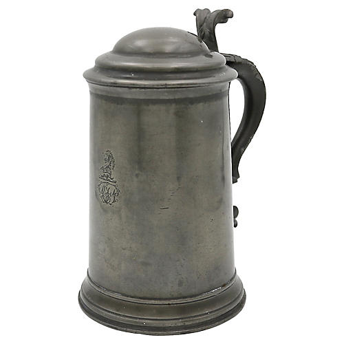 Antique Crested Pewter Ale Tankard