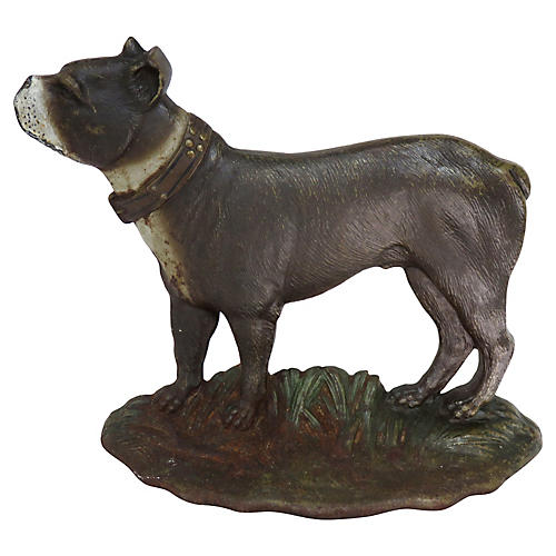 1920s Cast Iron Dog Doorstop