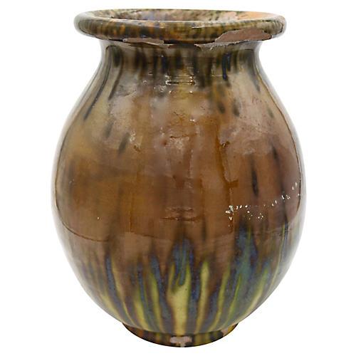 French Glazed Flower Pot