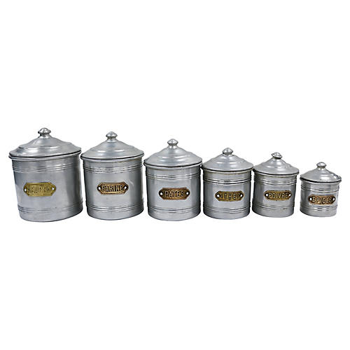 French Alumnium Kitchen Canisters, S/ 6