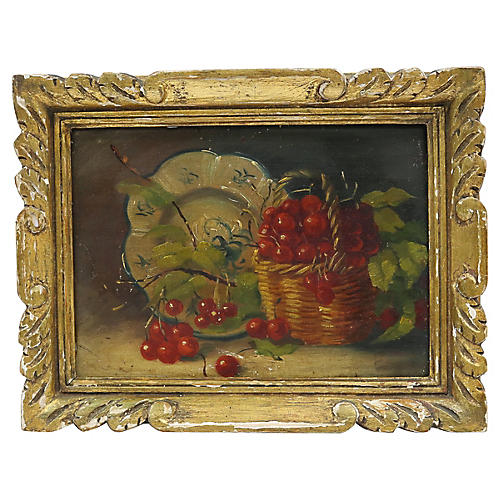 French Cherry Still Life Oil Painting