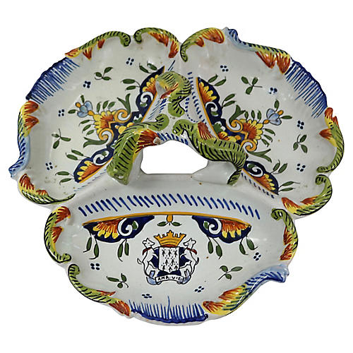 French Faience Coat of Arms Serving Dish