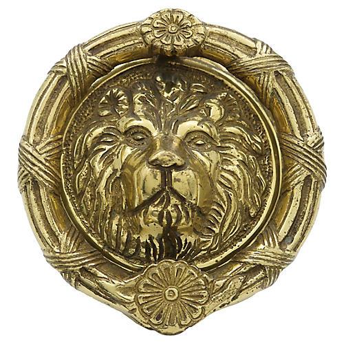 Heavy English Brass Lion Door Knocker