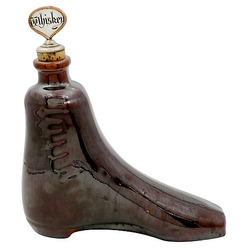 Antique Stoneware Whiskey Boot Flask