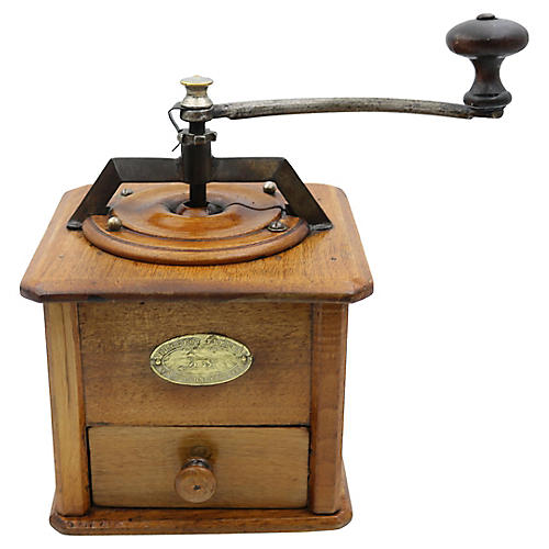 Antique French Coffee Grinder, Wood Top