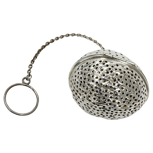 Antique Sterling Silver Walnut Tea Ball